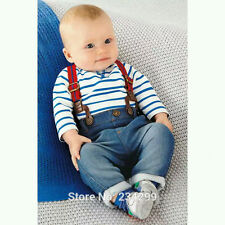 New Baby Boys Clothing Outfit Denim Jumpsuit + Striped Long Sleeve Top 2 Pcs/Set