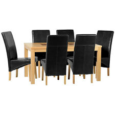 Oak Veneer Dining Table and Chair Set with 6 Seats | Black Cream Brown Red Grey