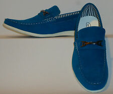 Mens Stylish Casual Dress Loafers Driving Shoes Fun Blue Color Cody2-Blue