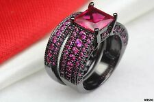 Gothic Hot Pink Sapphire Black Rhodium Plated Bridal Engagement Wedding Rings