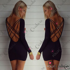 Womens Backless Black Bodycon Sexy Party Long Sleeve Mini Evening Ladies Dress