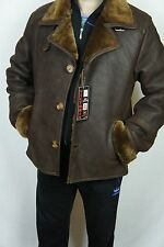 Men REAL GENUINE Sheepskin Shearling Leather Car Coat Bomber Jacket S-5XL, NWT