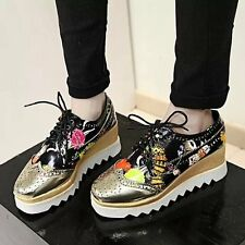 2015 NEW Spring High Platform Wedge Heel British Oxfords Brogue Lace-up Shoes