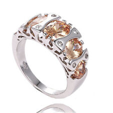 Wholesale 925 Sterling Silver Yellow Brilliant Gemstone Women's Ring Size 8