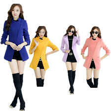 Womens Wool Blend Slim Fit Inclined Stand Collar Zipper Coat Overcoat Jacket