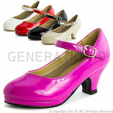 New Girls Basic Peagent Wedding Dress Heel Shoes Style 63K (9T 10T & Youth)