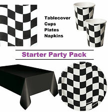 Chequered Flag | Racing 8-48 Guest Starter Party Pack - Cups, Plates, Napkins
