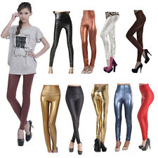 Women Sexy High Waist/Waisted Stretchy Faux Leather Wet Look Leggings/Pants