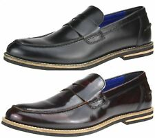 Red Tape Real Leather Mens Loafers Black, Rubbed Burgandy Bordo Slip On Shoes
