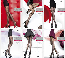 Ladies Black Pattern Sexy Stockings Sheer Pantyhose Hosiery Size Medium Large