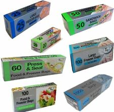 LARGE FOOD FREEZER BAGS WITH TIE HANDLES 26cm x 40cm (PACK OF 100)