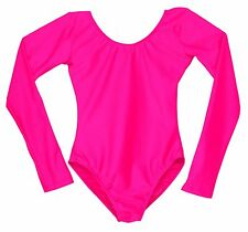 Adult Scoop Neck Long Sleeve Leotard Bright Hot Pink Women's Size S M L XL New