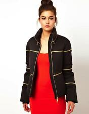 Love Moschino Zipper Jacket BLACK Short Padded Coat Gold Zips WH49100T7309 NEW