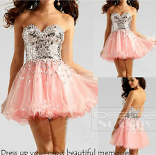 Short Beaded Sweetheart Pink Formal Ball Gown Evening Party Cocktail Prom Dress