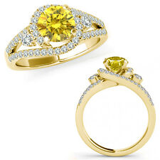 1 Carat Yellow Diamond Fancy Halo Engagement Wedding Bridal Ring 14K Yellow Gold