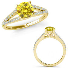 1 Carat Yellow Diamond Fancy Solitaire Engagement Wedding Ring 14K Yellow Gold