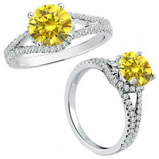 1.25 Ct Yellow Diamond Fancy Solitaire Promise Anniversary Ring 14K White Gold