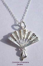 Stunning 925 Sterling Silver ORIENTAL FAN Pendant Chain Necklace + Gift Box +Bag