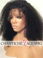 Custom Afro Kinky Curly Human Hair Lace Front Wig/Glueless Full Lace Wigs #1B