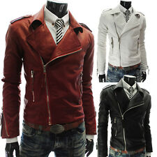 Fashion Men Faux Leather Biker Jacket Coat Motorcycle lapel Slim fit Outwear