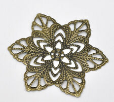 Wholesale Bronze Tone Filigree Flower Wraps Connectors Embellishments 57mm