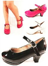 New Girl's Youth Cute Patent Mary Jane High Heel Classic Dance Dress Shoes