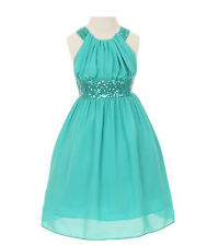 Classy 5004 Sequin Chiffon Party Flower Girl Easter Pageant Dress