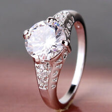 18k white gold filled swarovski crystal Solitaire lady charming ring Sz5-Sz9