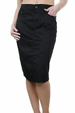 ICE (2516-1) Plus Size Stretch Chino Sheen Jeans Style Skirt Black 12-24