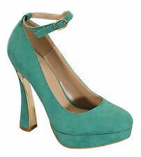 MINT GREEN HIGH HEEL PLATFORM PUMP ANKLE STRAP MARY JANE STILETTO WOMENS SHOES