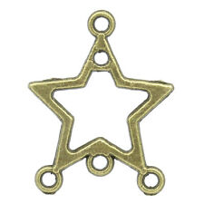 "Wholesale Lots Charm Connectors Hollow Star Bronze Tone 19mmx15mm(6/8""x5/8"")"