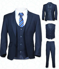 Designer Boys Formal Navy Suit, 5PC Slim Fit, Page Boy, Wedding, Communion Suits