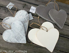 Gisela Graham Distressed Rustic Wooden Set/2 Hanging Hearts Chic Shabby Dec Grey