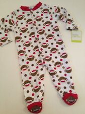 Baby Starters Sock Monkey Boy Coverall Outfit Pajamas Size 3 6 9 Months Dots