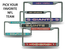 NFL Teams - Licensed Bling Glitter Chrome License Plate Frame Car Truck Wall