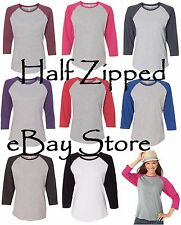 LAT Ladies Fine Jersey 3/4 Sleeve Baseball T-Shirt 3530 S-2XL Cotton/Polyester