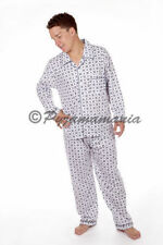 Mens Pyjamas Mens Winter Long Pjs White Blue Cheques Sz S M L XL XXL