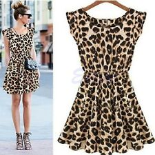 Fashion Sexy Women Leopard Casual Evening Cocktail Party Mini Dress Summer Dress