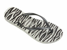 Havaianas Women`s Flip Flops Slim Animals Sandals White and Grey All Sizes NWT