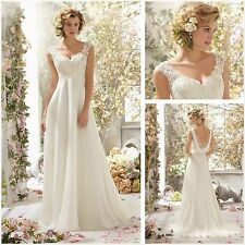 Women Lace Bridal Gown Beach Wedding Custom Dress White Size 8 10 12 14
