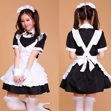 6pcs Black Cosplay Lolita Maid Outfit Sexy Dress Party Set apron French Costume