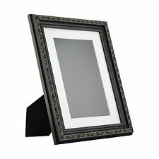 Ancien Ornate Table-Top 8.5x11 Antique Black Standing Picture Frame with Mat