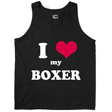 I Heart Love My Boxer, Dog Breed Puppy Pet Parent Puppies Mens Tank Top