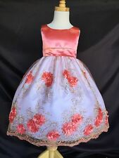 Flower Girl Bridesmaids Easter Coral Embroidery Floral Dress