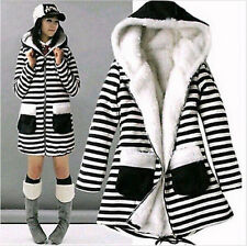 Fashion Women's Autumn Winter Classic Cute Striped Long-sleeved Hooded Jacket