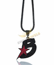 Iced Out Blackout THE GAMEs BLACK WALL STREET BWS Hip Hop Pendant Necklace Chain