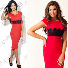 Womens Celeb Lace Evening Bodycon Red Sun Dress Midi Pencil Party Cocktail Dress