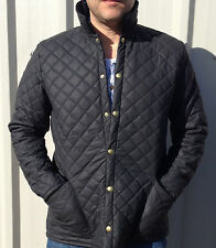 MENS QUILTED JACKET WATER RESISTANT OUTER MICROFLEECE LINED M L XL XXL