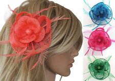 % Fascinator Feather Net Hair Slide, Hair Piece, Bride Hair Jewelry, 11 Colours