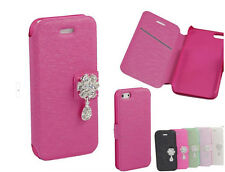 Bling Diamond Rhinestone Wallet Silk Stand Flip Case Cover For iPhone 4 4S 5C 5S